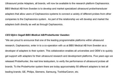 Co-operation ProbeHunter & Cephasonics