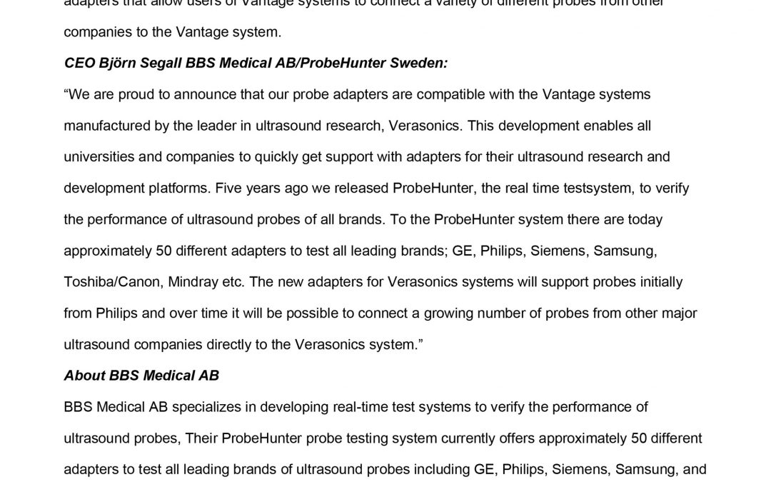 ProbeHunter develops for Verasonics Vantage Ultrasound Research Platform