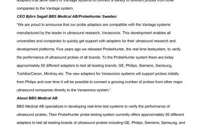 ProbeHunter develops for Verasonics Vantage Ultrasound Research Platform